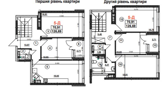 ЖК Урлівський-1: планування дворівневої квартири 126.69 м2, тип 5-Д