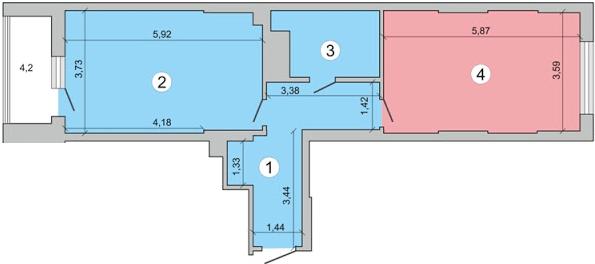 ЖК Перовський: планування 1-кімнатної квартири 62.9 м2, тип 1-62.9