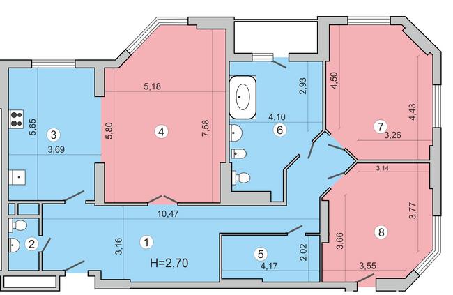 ул. Николая Краснова, 19: планировка 3-комнатной квартиры 179.8 м2, тип 3-179.8