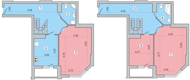 вул. Миколи Краснова, 19: планування дворівневої квартири 158.8 м2, тип 3-158.8