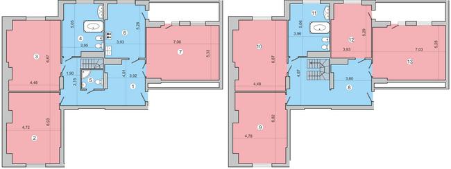 вул. Миколи Краснова, 19: планування дворівневої квартири 376.9 м2, тип 7-376.9