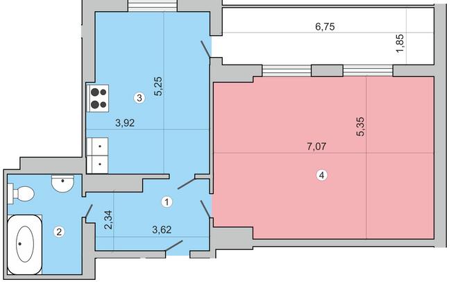 вул. Миколи Краснова, 19: планування 2-кімнатної квартири 85.3 м2, тип 2-85.3