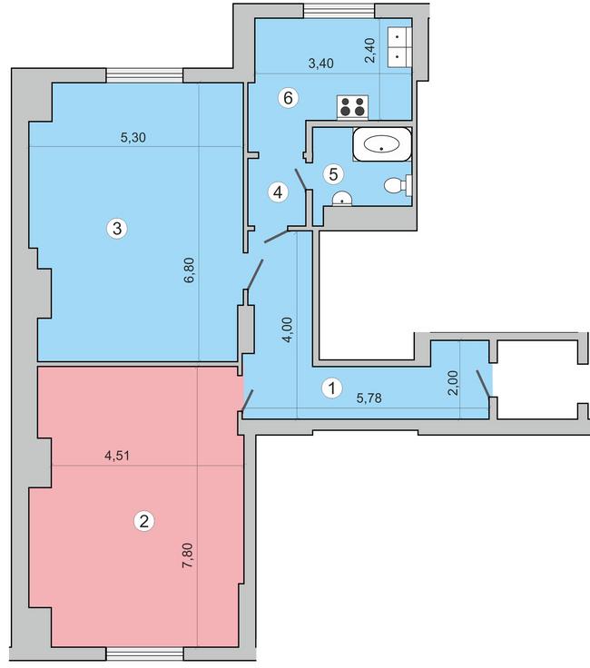 вул. Миколи Краснова, 19: планування 2-кімнатної квартири 97.6 м2, тип 2-97.6