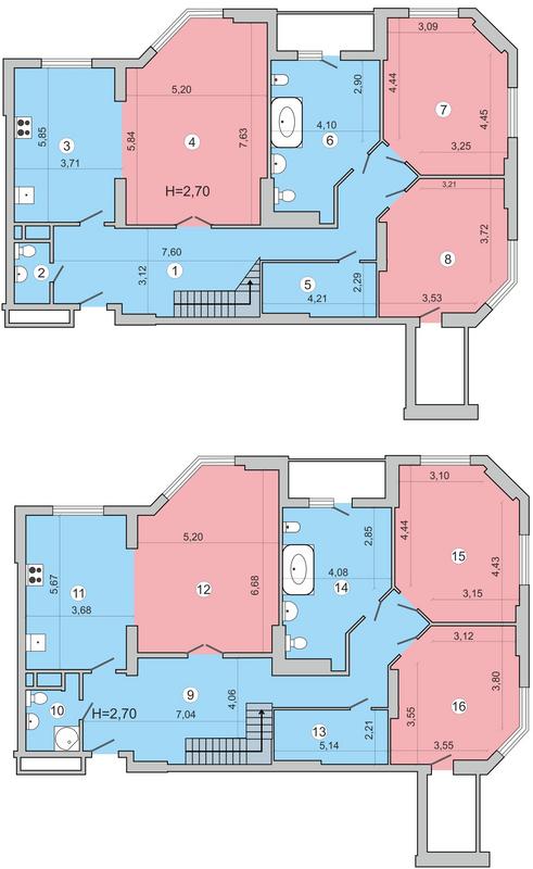 вул. Миколи Краснова, 19: планування дворівневої квартири 356.2 м2, тип 7-356.2