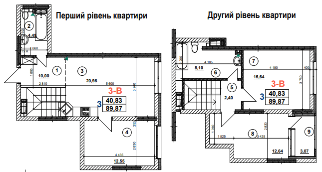 ЖК Урлівський-1: планування 3-кімнатної квартири 89.87 м2, тип 3-В