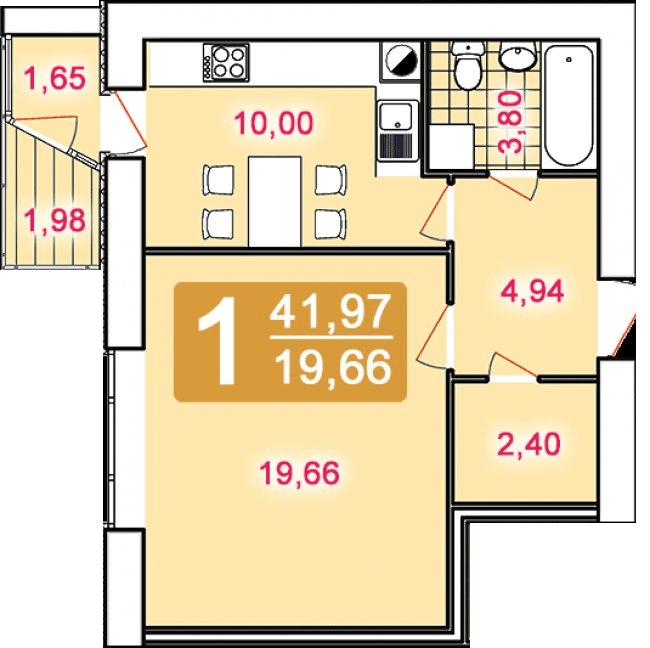 вул. Кульпарківська, 156: планування 1-кімнатної квартири 41.97 м2, тип 1-41.97