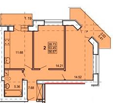 ул. Героев Сталинграда, 4: планировка 2-комнатной квартиры 56.67 м2, тип 2-56.67