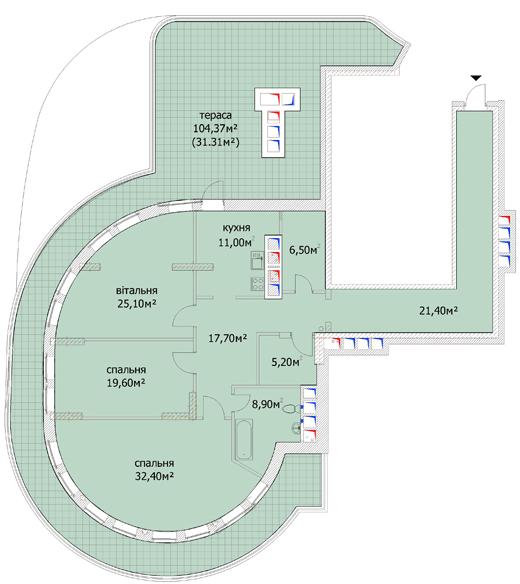 ул. Евгения Коновальца (Щорса), 36в: планировка 3-комнатной квартиры 179 м2, тип 3-179