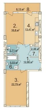 ЖК Лычаковская жемчужина: планировка 2-комнатной квартиры 79.91 м2, тип 2-79.91