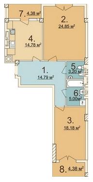 ЖК Лычаковская жемчужина: планировка 2-комнатной квартиры 84.55 м2, тип 2-84.55