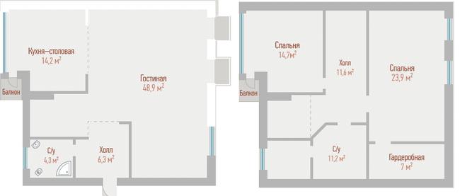 ЖК Воздвиженка: планування дворівневої квартири 143.1 м2, тип 2-143.1