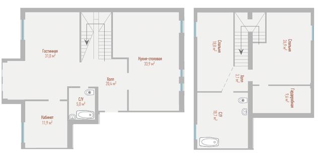 ЖК Воздвиженка: планировка двухуровневой квартиры 179.3 м2, тип 4-179.3