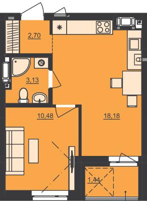 ЖК Семицвет: планировка 1-комнатной квартиры 35.93 м2, тип 1-35.93
