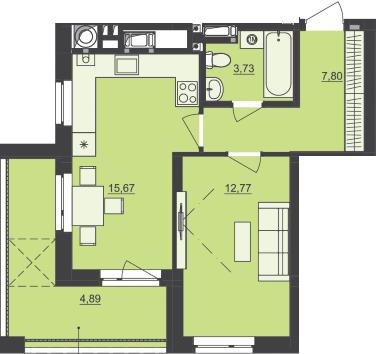 ЖК Семицвет: планировка 1-комнатной квартиры 44.86 м2, тип 1-44.86