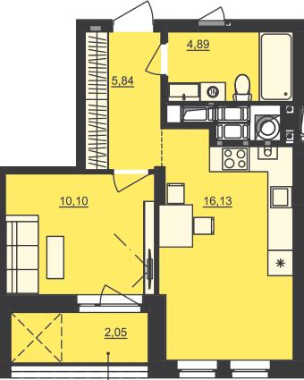 ЖК Семицвет: планировка 1-комнатной квартиры 39.01 м2, тип 1-39.01