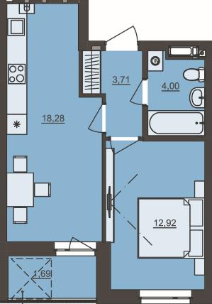 ЖК Семицвет: планировка 1-комнатной квартиры 40.6 м2, тип 1-40.60