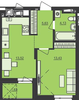ЖК Семицвет: планировка 1-комнатной квартиры 38.34 м2, тип 1-38.34