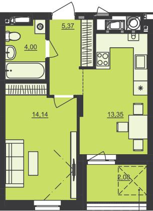 ЖК Семицвет: планировка 1-комнатной квартиры 38.94 м2, тип 1-38.94