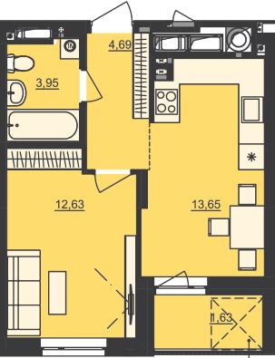 ЖК Семицвет: планировка 1-комнатной квартиры 36.55 м2, тип 1-36.55