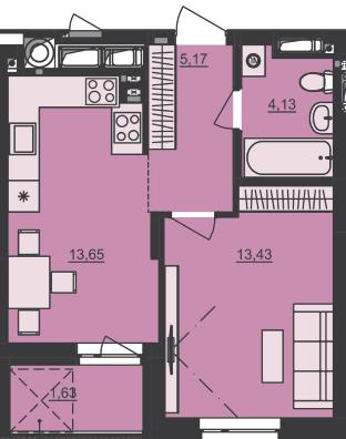 ЖК Семицвет: планировка 1-комнатной квартиры 38.01 м2, тип 1-38.01