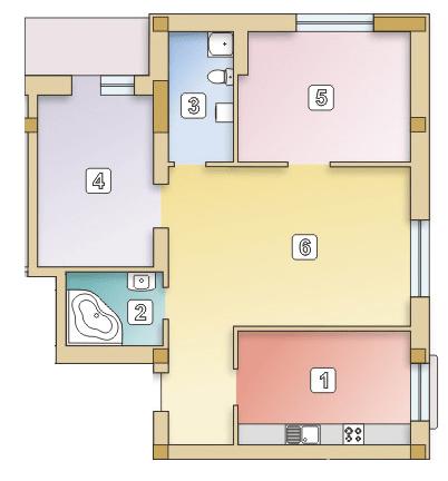 вул. Сулими, 19: планування 3-кімнатної квартири 89.05 м2, тип 3-89.05