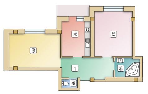 вул. Сулими, 19: планування 2-кімнатної квартири 64.6 м2, тип 2-64.6