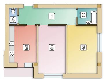 вул. Сулими, 19: планування 2-кімнатної квартири 63.2 м2, тип 2-63.2