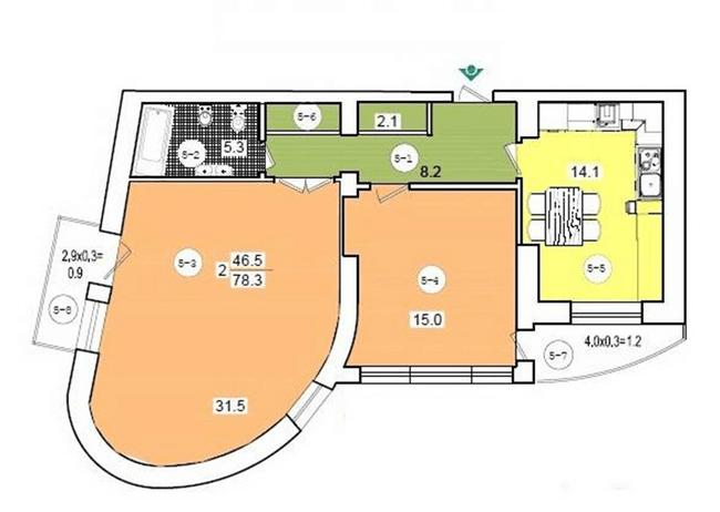 ул. Коциловского, 13: планировка 2-комнатной квартиры 78.3 м2, тип 2-78.3