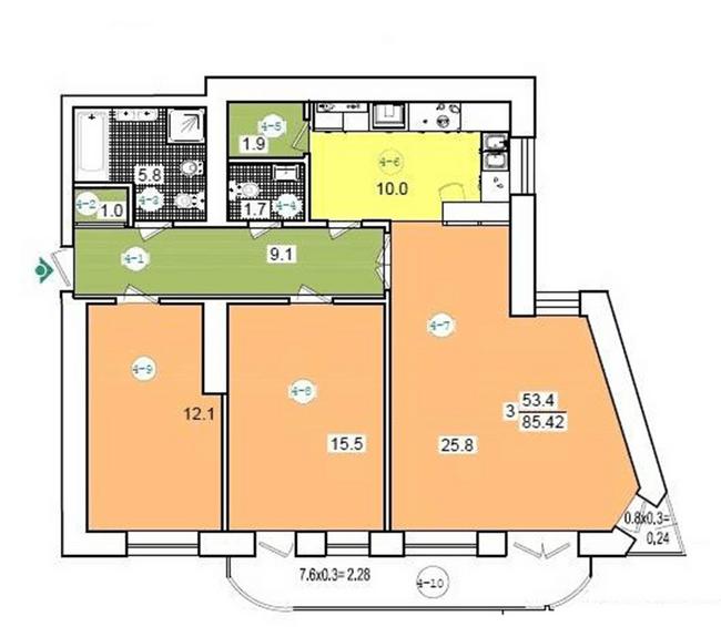 вул. Коциловського, 13: планування 3-кімнатної квартири 85.42 м2, тип 3-85.42
