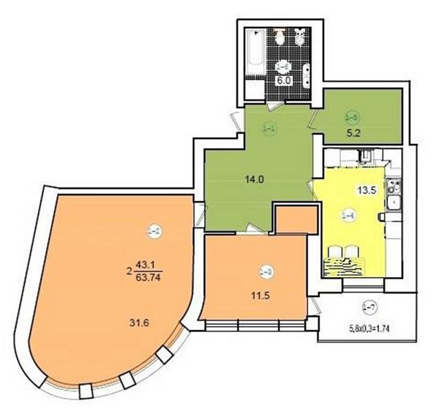 ул. Коциловского, 13: планировка 2-комнатной квартиры 63.74 м2, тип 2-63.74
