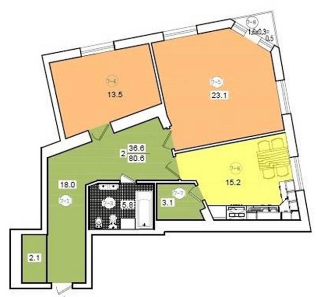 вул. Коциловського, 13: планування 2-кімнатної квартири 80.6 м2, тип 2-80.6