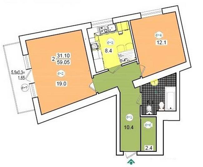 вул. Коциловського, 13: планування 2-кімнатної квартири 59.05 м2, тип 2-59.05