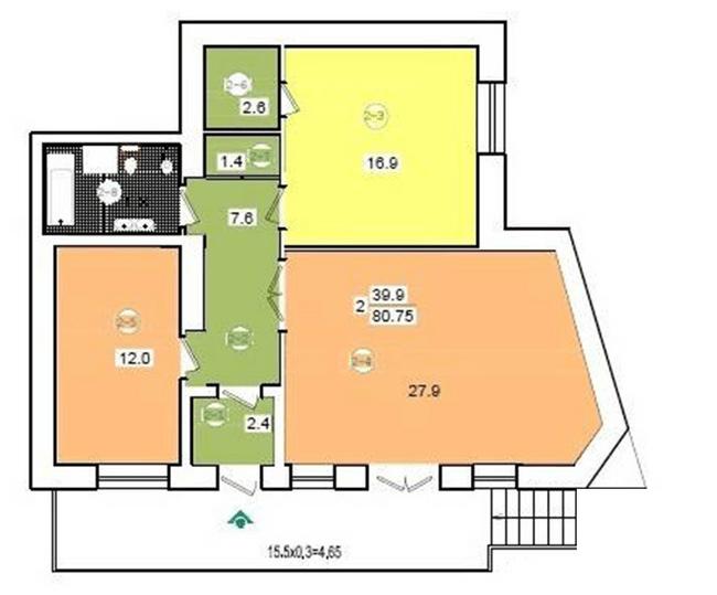 ул. Коциловского, 13: планировка 2-комнатной квартиры 80.75 м2, тип 2-80.75