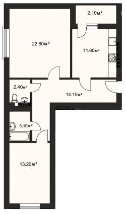 ЖК Винниковский дом: планировка 2-комнатной квартиры 69.1 м2, тип 2-69.1