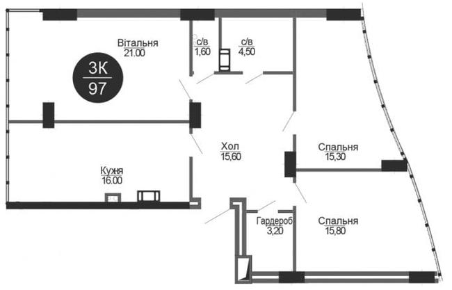 ЖК Parus: планировка 3-комнатной квартиры 97 м2, тип 3-97