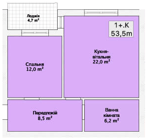 Хмельницкое шоссе, 40: планировка 1-комнатной квартиры 53.5 м2, тип 1-53.5