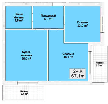 Хмельницьке шосе, 40: планування 2-кімнатної квартири 67.1 м2, тип 2-67.1