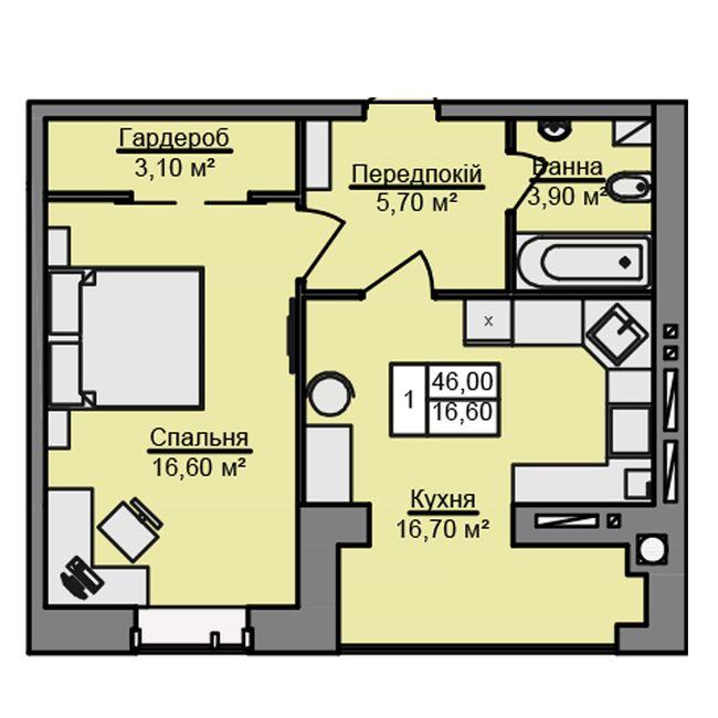 ЖК Місто Мрій: планування 1-кімнатної квартири 46 м2, тип 1-46.0
