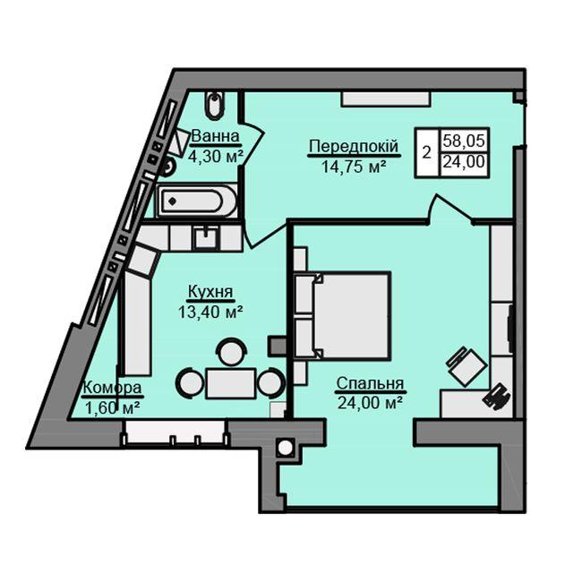 ЖК Місто Мрій: планировка 1-комнатной квартиры 58.05 м2, тип 1-58.05