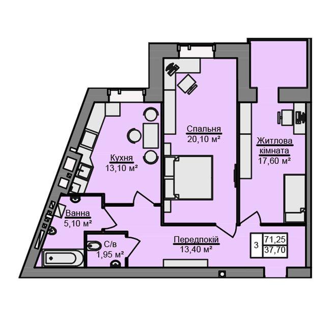 ЖК Місто Мрій: планування 2-кімнатної квартири 71.25 м2, тип 2-71.25