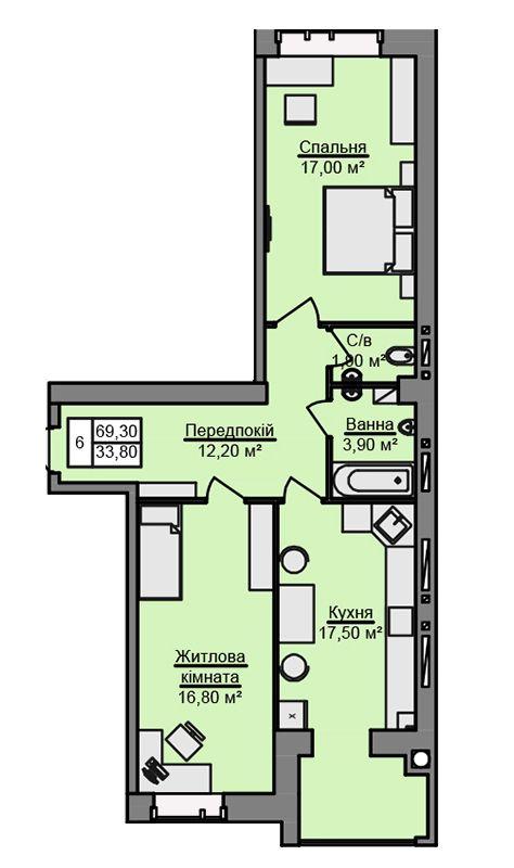 ЖК Місто Мрій: планування 2-кімнатної квартири 69.3 м2, тип 2-69.30