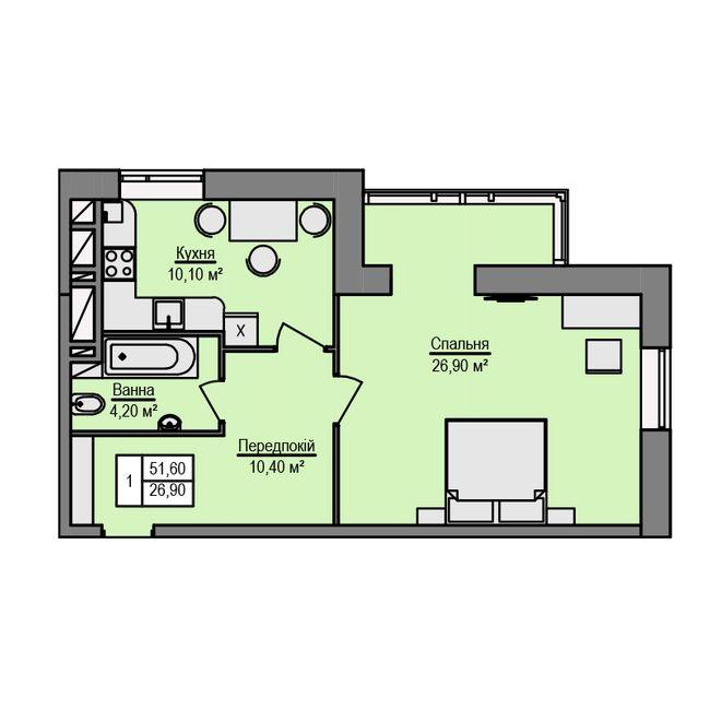 ЖК Щаслива оселя: планування 1-кімнатної квартири 51.6 м2, тип 1-51.60