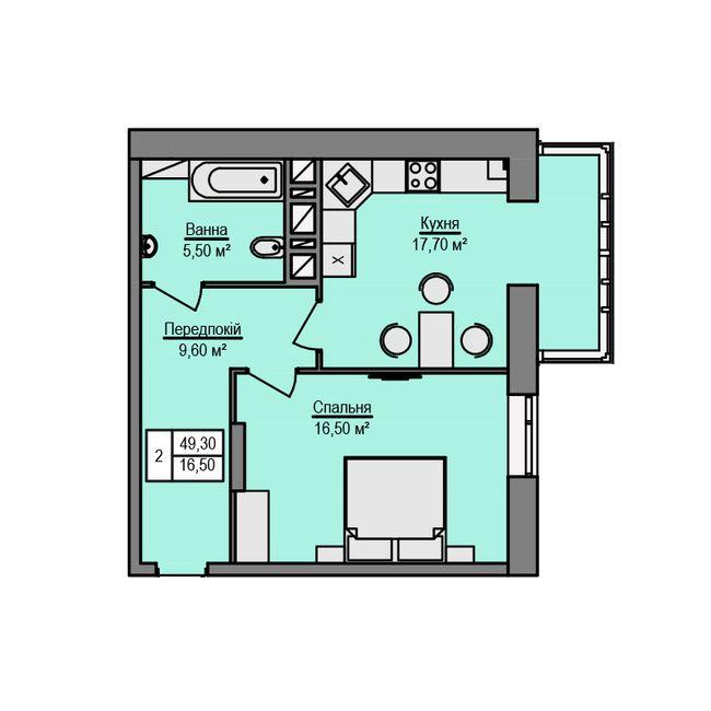 ЖК Щаслива оселя: планировка 1-комнатной квартиры 49.3 м2, тип 1-49.30