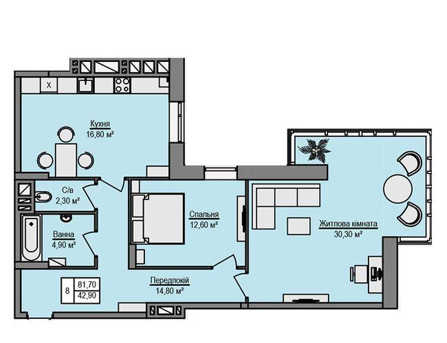 ЖК Щаслива оселя: планування 2-кімнатної квартири 81.7 м2, тип 2-81.70