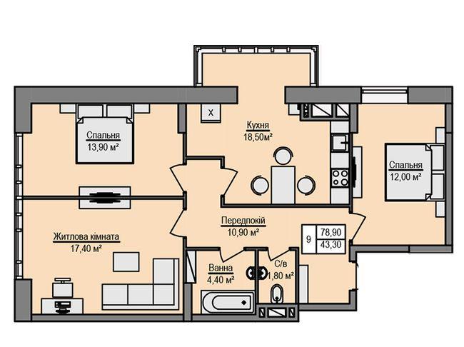 ЖК Щаслива оселя: планування 3-кімнатної квартири 78.9 м2, тип 3-78.90