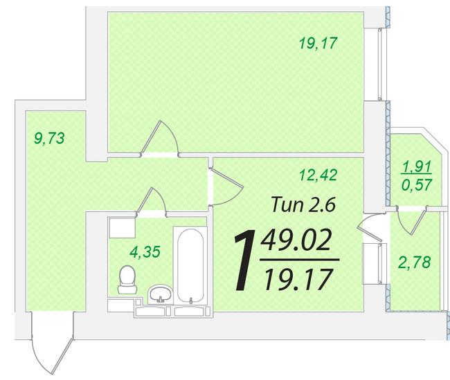 ЖК Лисовый: планировка 1-комнатной квартиры 49.02 м2, тип 1-49.02