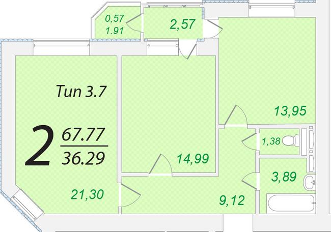 ЖК Лисовый: планировка 2-комнатной квартиры 67.77 м2, тип 2-67.77