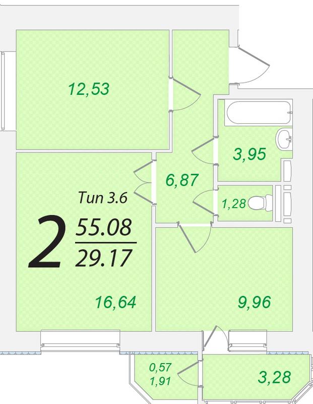 ЖК Лисовый: планировка 2-комнатной квартиры 55.08 м2, тип 2-55.08