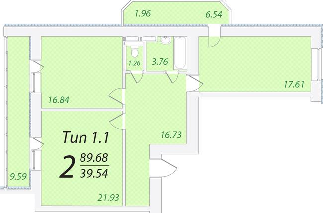ЖК Лисовый: планировка 2-комнатной квартиры 89.68 м2, тип 2-89.68