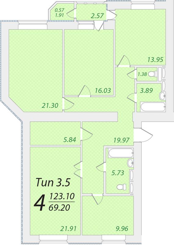 ЖК Лісовий: планування 4-кімнатної квартири 123.1 м2, тип 4-123.10